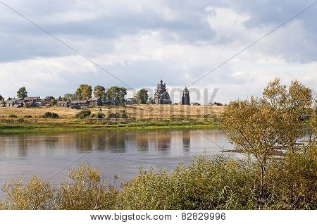 North Russian Village On The River