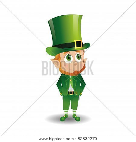 an isolated happy irish elf with traditional clothes for patrick's day
