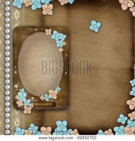 Album Cover With Vintage Frame, Flowers, Lace, Pearls