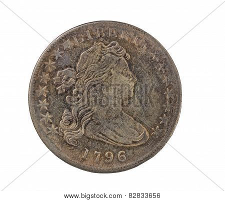 Usa Vintage Coin On Pure White Background