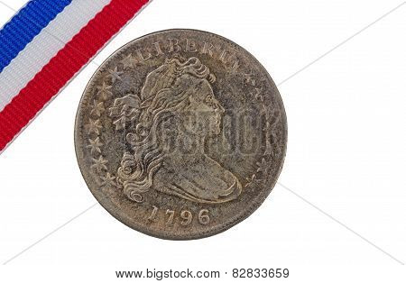 Usa Vintage Coin With Ribbon On Pure White Background