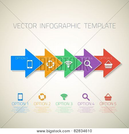 Web Infographic Arrows Template Layout With Vector Icons, could