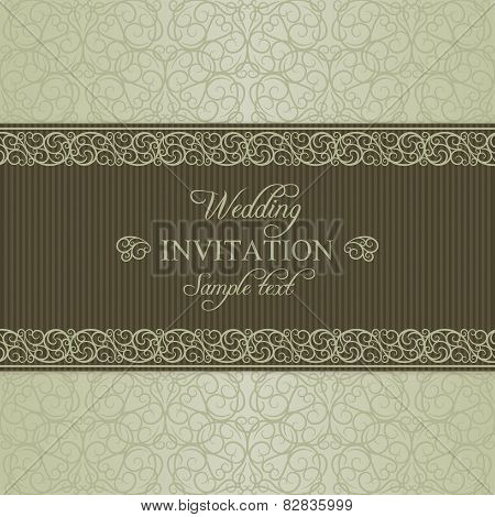 Baroque wedding invitation, dull gold