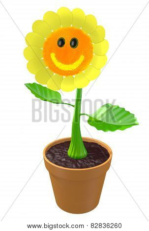 Happy 3D flower with a smiling face growing in a garden pot