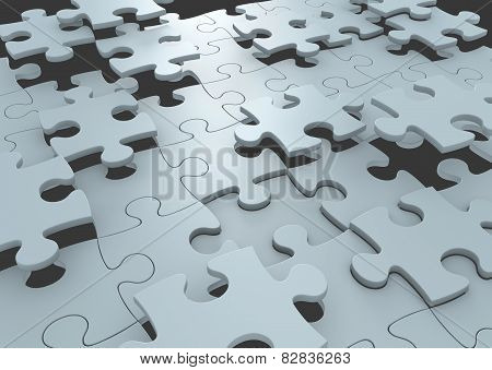 Strategy concept of puzzle pieces connecting to form a solution to a challenge