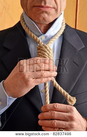 Hangman adjusting a noose rope like tie.