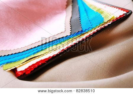 Colorful fabric samples, macro view