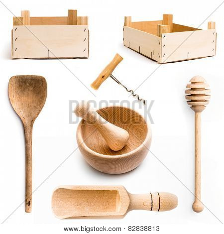 wooden kitchen items isolated on white background