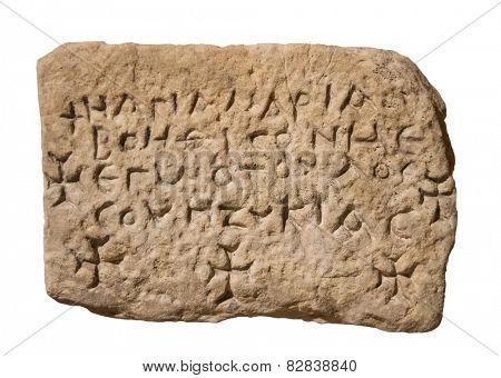ancient stones with inscriptions isolated on a white background