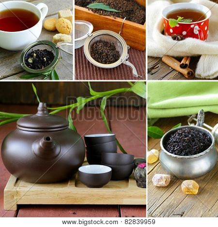 collage useful green and black tea and serving for tea party