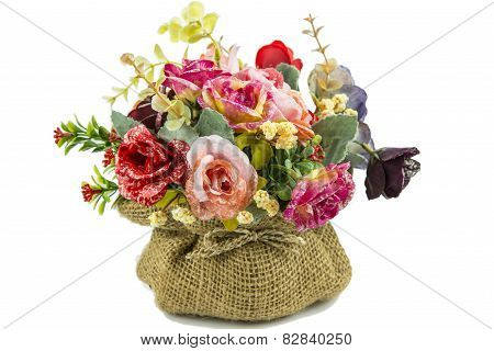 Colorful decoration artificial flower isolated on white background.