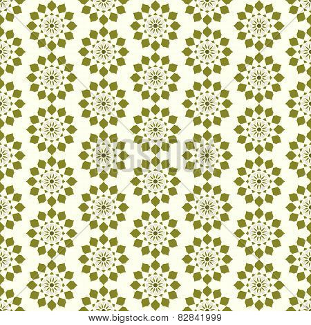 Dark Green Vintage Modern Flower Pattern On Pastel Color