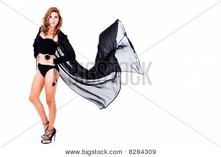 Young Woman Posing in Black Lingerie - Isolated