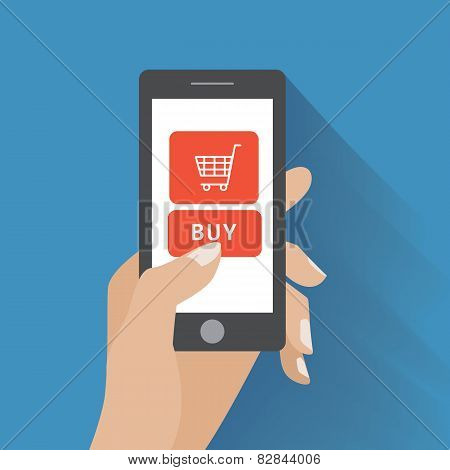 Hand holding smartphone with buy button