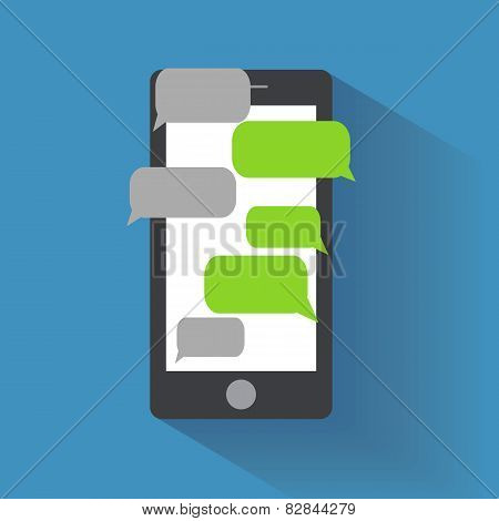 Smartphone with blank speech bubbles