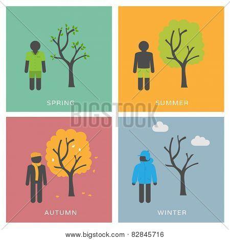 Seasons & Fashion - set of flat design illustrations