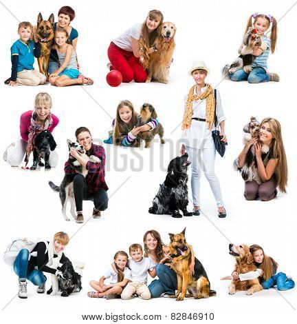 collection photos of children and adults with a cute dogs on a white background