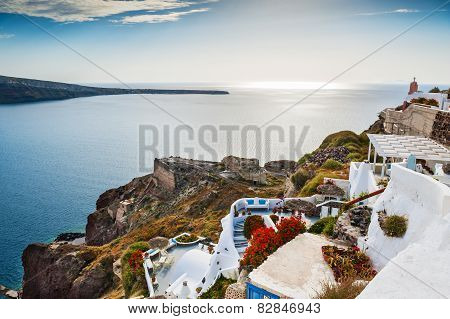 White Architecture In Oia Village.