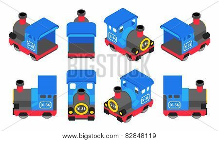 Isometric Blue Train