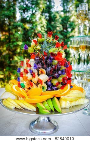 many different fruits an the wedding reception