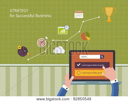Vector illustration icons set of strategy for successful business and strategic planning
