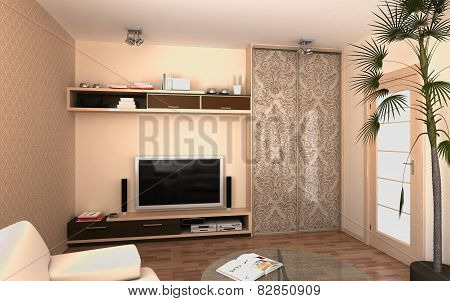 3d rendering of apartment living room