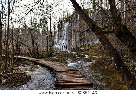 Wooden path trough the lakes