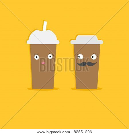 Two Disposable Coffee Paper Cups With Eyes Mustache And Lips. Happy Family Flat Design