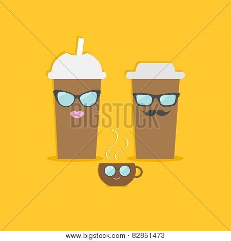 Two Disposable Coffee Paper Cups And Tecup With Sunglasses Mustache And Lips . Flat Design