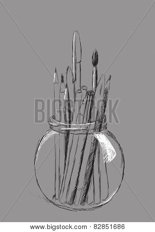 hand drawn pencils in jar on gray