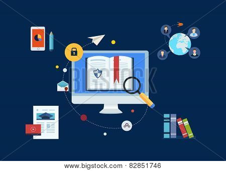 Flat design modern vector illustration icons set of analytics search information and online educatio