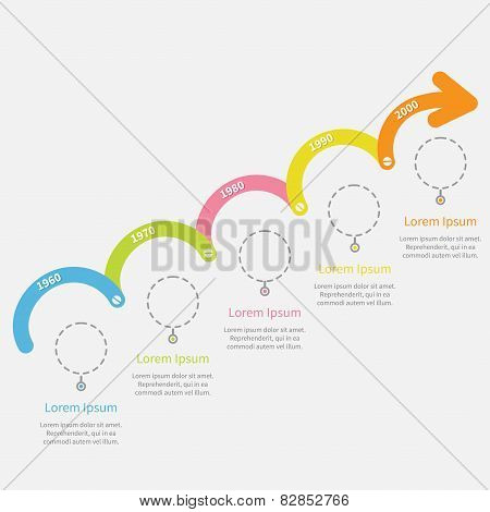 Timeline Infographic Upwards Arrow With Screw Dash Line Circles And Text. Template. Flat Design.