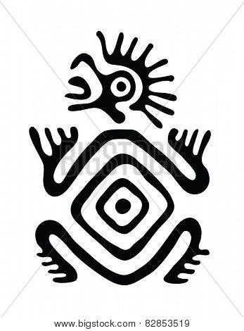 black alien in native style, vector illustration