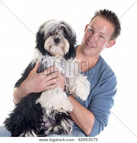 Man And  Tibetan Terrier