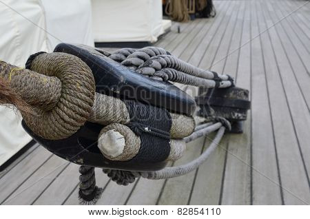 Sailing ships rigging block and tackle.