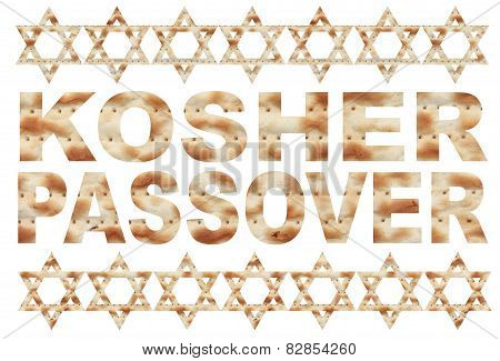 Traditional Jewish holiday - Kosher Passover text with Matzo letters