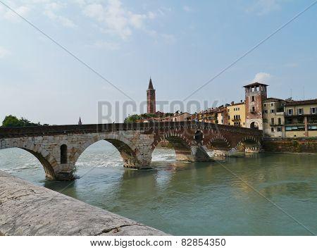 Ponte Pietre in Verona in Italy