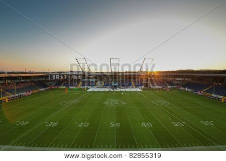 ST. POELTEN, AUSTRIA - JULY 27 A view of the stadium before Austrian Bowl XXVII on July 27, 2013 in St. Poelten, Austria.