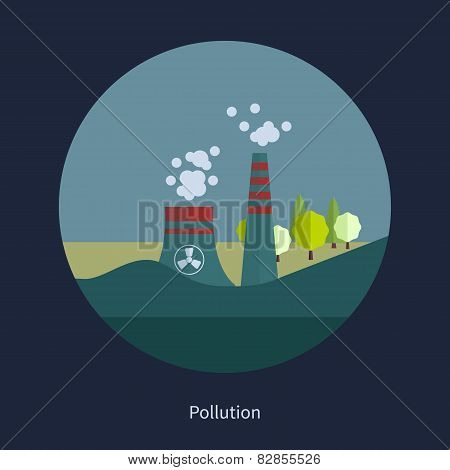 Flat design vector concept illustration with icons of pollution