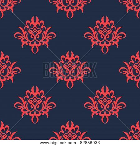 Vintage red on blue foliage pattern