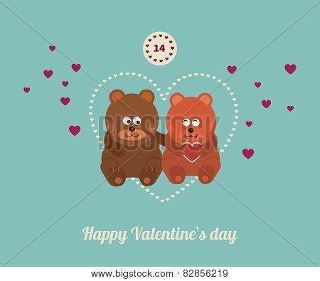 Lovers and happy bears with hearts.