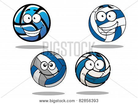Cartooned blue and white volleyball balls