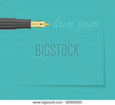 Fountain Pen With Golden Tip And Signature On Blue Background