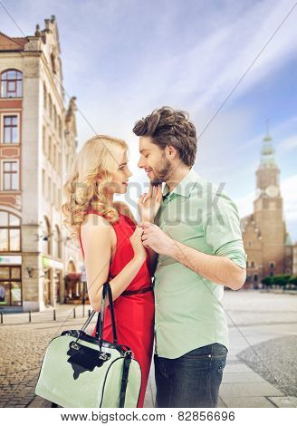 Smiling couple in a shopping mall