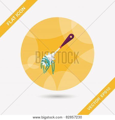 Kitchenware Spaghetti Spoon Flat Icon With Long Shadow,eps10