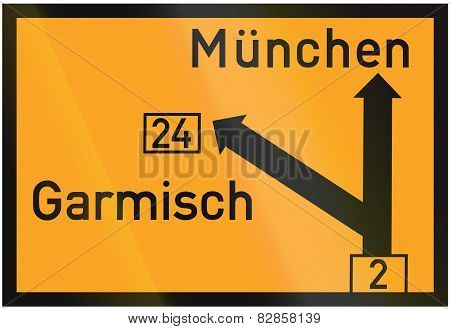 Direction Sign To Munich And Garmisch 1937
