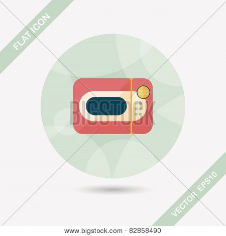 Kitchenware Microwave Oven Flat Icon With Long Shadow, Eps10
