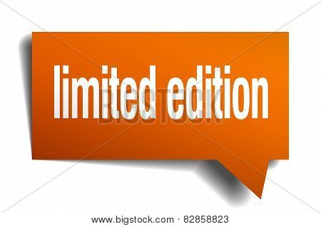 Limited Edition Orange Speech Bubble Isolated On White