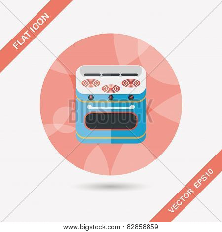 Kitchenware Gas Stove With Oven Flat Icon With Long Shadow,eps10