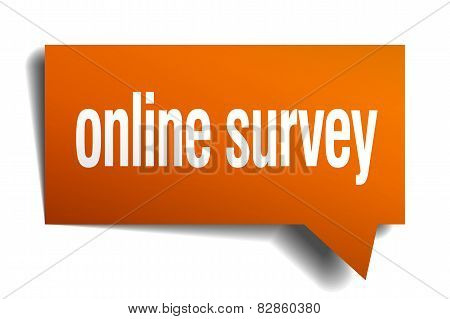 Online Survey Orange Speech Bubble Isolated On White